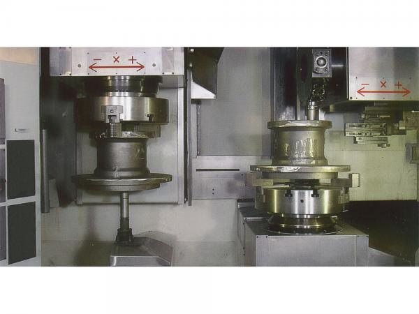 SIMULTANEUS MACHINING ON BOTH SPINDLE